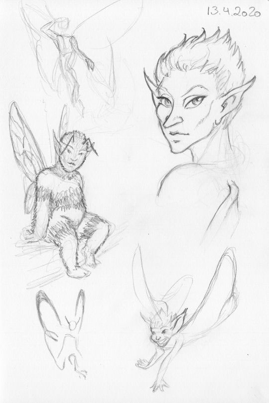 A collection of quick pencil sketches of fairies.