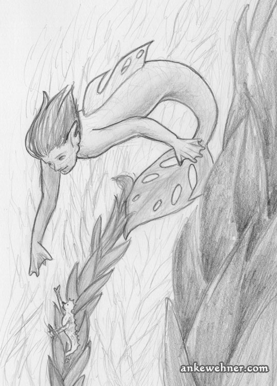 Pencil sketch of two mermaids in a kelp forest. One is very small and has rough skin like a seahorse and it holding on to a strand of kelp. The other one is bigger, with a tail fin and back fin with holes, based on a monstera leaf. They are reaching out to each other.