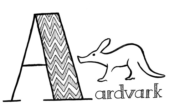 "Stylized black line drawing of an aardvark and the word ""Aardvark"" lettered with a very big A"