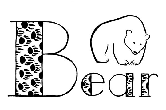 "Stylized black line drawing of a bear and the word ""Bear"" lettered with a very big B"