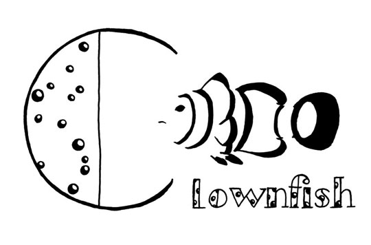 "Stylized black line drawing of a clownfish and the word ""Clownfish"" lettered with a very big C"