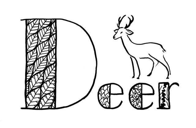 "Stylized black line drawing of a deer and the word ""Deer"" lettered with a very big D, and the wide parts of the letters filled with different leaf-based patterns."