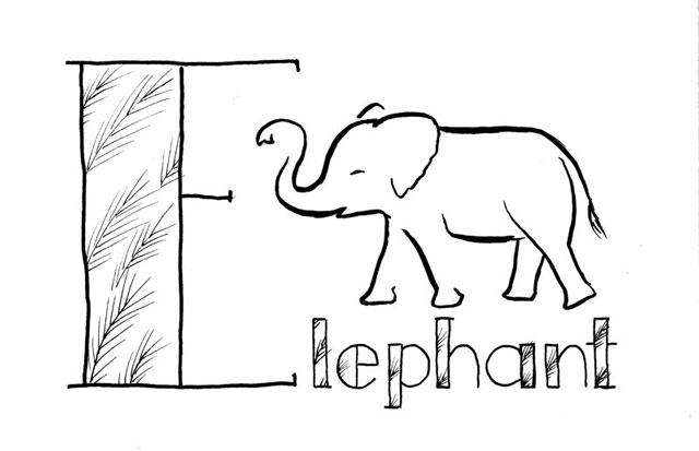 "Stylized black line drawing of an elephant and the word ""Elephant"" lettered with a very big E, and the wide parts of the letters filled with a pattern based on bushy grass tops"