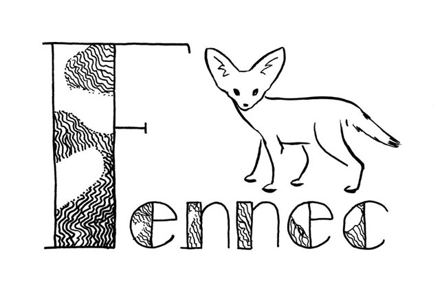 "Stylized black line drawing of a fennec and the word ""Fennec"" lettered with a very big F, and the wide parts of the letters filled with a pattern based on windblown dunes."