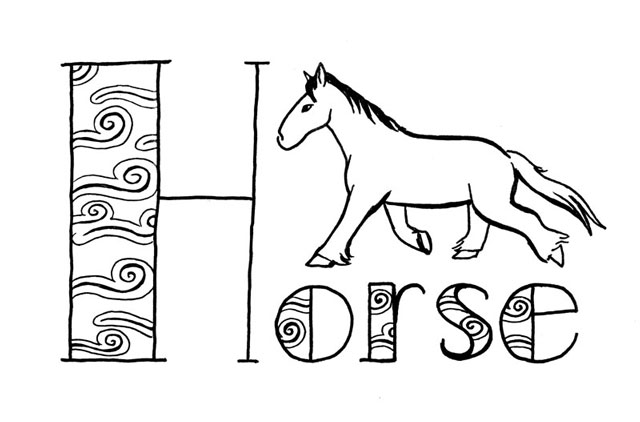 "Stylized black line drawing of a horse and the word ""Horse"" lettered with a very big H, and the wide parts of the letters filled with a pattern made up of spirals with trailing lines, trying to evoke wind."