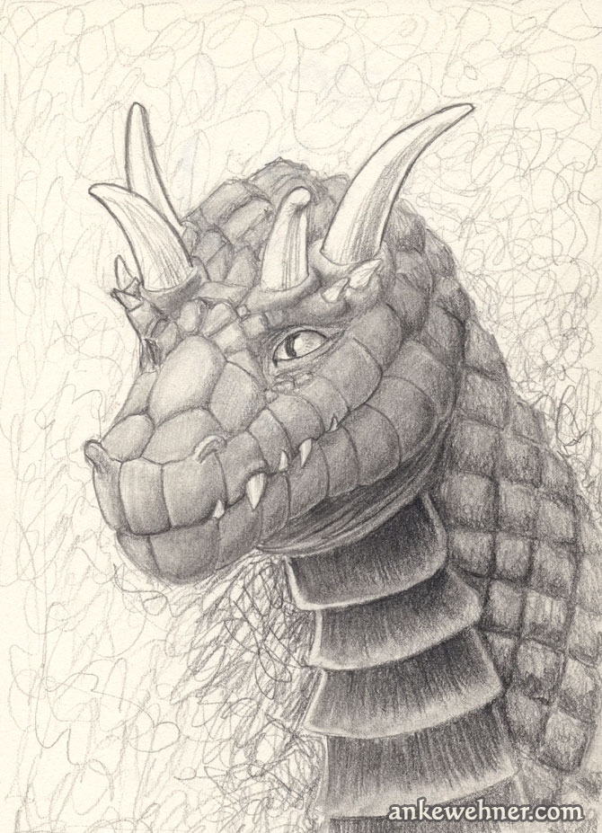Portrait of a dragon with two pairs of horns and diamond-shaped scales.