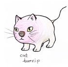 A cross between a cat and a turnip in a cute cartoon style.